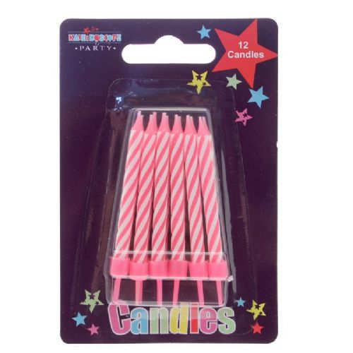 Pink Stripe Party Candle (Pack of 6)